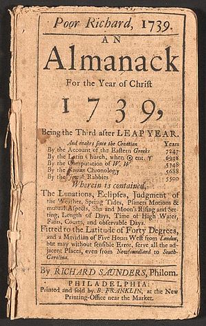 Poor Richard, 1739. An Almanack for the Year of Christ 1739. Published by Benjamin Franklin