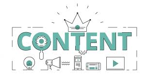 The word 'content' handwritten in bold letters with a three-point crown over it. A symbol of 'Content is King'